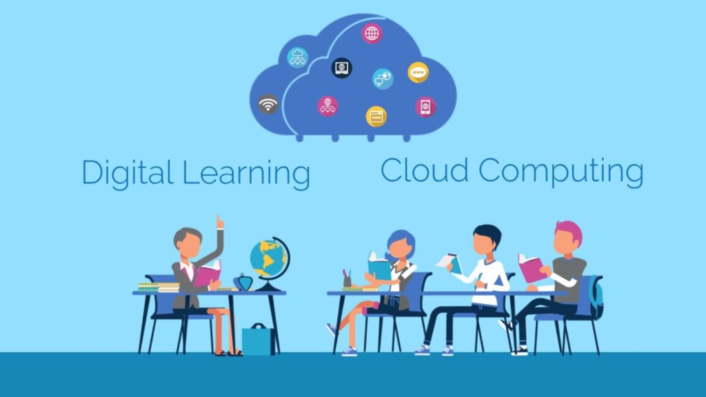 Educational explainer videos showing students using cloud system for digital learning